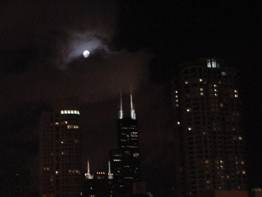 Sears Tower and an almost full moon.